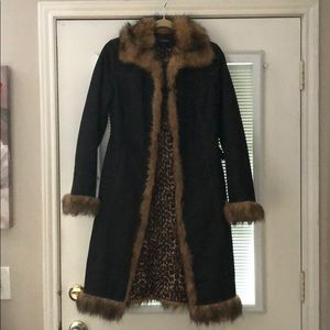 Denim and fur long jacket